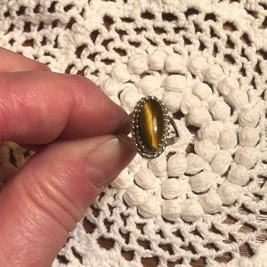 Jewelry - Vintage Sterling Silver Tiger Eye Ring Size 4 1/2